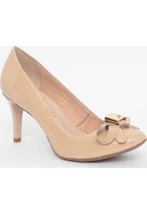 Sapato Em Couro Envernizado Com Laço- Nude- Salto: 8Jorge Bischoff