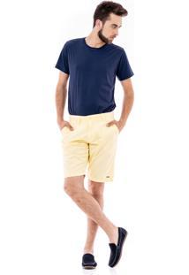 Bermuda Porto & Co Sarja Comfort Amarela