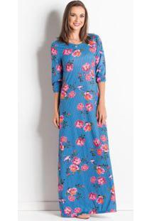 Vestido Longo Floral E Listrado Moda Evangélica