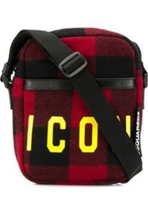 Dsquared2 Bolsa Carteira Icon Xadrez - Vermelho