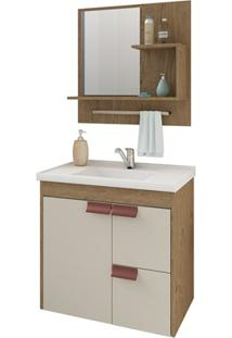 Gabinete Suspenso Para Banheiro Tulipa Com Espelho 59X35,5Cm Carvalho E Off-White