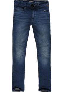 Calça Khelf Jeans Com Recorte No Joelho Jeans Preto