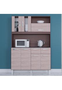 Cozinha Compacta 7 Portas 2 Gavetas Ellen 6281 Capuccino/Amêndoa - Poquema