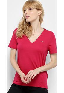 Camiseta Lacoste Gola V Feminina - Feminino-Vinho