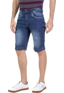 Bermuda Masculina Jeans Slim Brito Azul