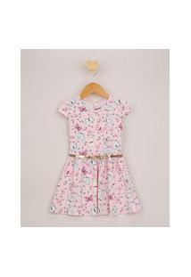 Vestido Infantil Estampado Floral Manga Curta E Cinto Metalizado Rosa Claro