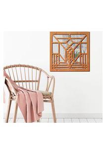Escultura De Parede Wevans Abstrato, Madeira + Espelho Decorativo Único
