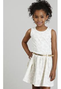 Vestido Infantil Estampado De Borboletas Com Cinto Metalizado Bege Claro