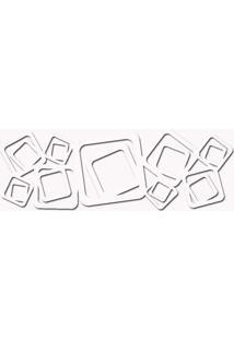 Escultura De Parede Abstrato Quadrados Vazado Branco 100 X 45 Cm