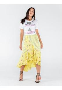 Saia Caos Longa De Cetim Estampa Mix Floral Feminina - Feminino-Amarelo