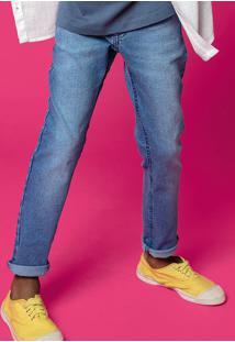 Calça Jeans Menino Skinny Com Lavação Clara E Elastano Hering Kids