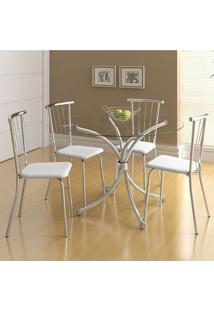 Conjunto Mesa 375 Com Vidro Incolor Cromada Com 4 Cadeiras 154 Branca Carraro