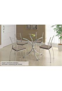 Sala De Jantar Carraro Mesa 375+4 Cadeiras Cro/Conhaque