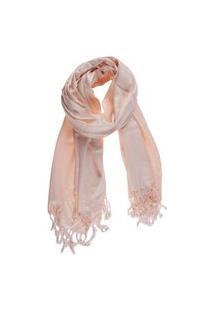 Echarpe Em Viscose Lisa Baby Pink Com Franja 220 G A180Xl70 Cm