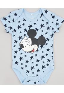 Body Infantil Mickey Estampado De Estrelas Manga Curta Azul Claro