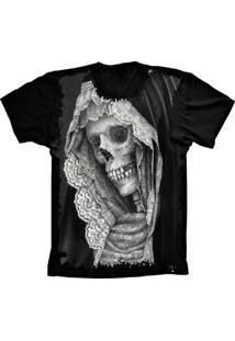 Camiseta Baby Look Lu Geek Caveira Skull Preto - Tricae