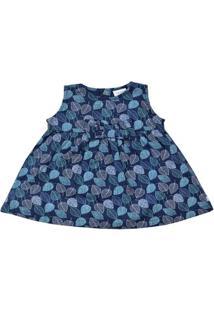 Vestido Sem Manga - Estampada - 100% Algodão - Azul Marinho - Tilly Baby - Gg