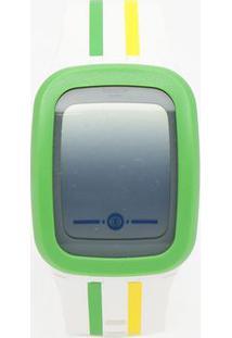 Relógio Digital Com Relevo Suvw101- Branco & Verde- Swatch