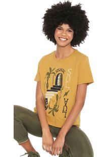 Camiseta Cantã£O Sol E Lua Amarela - Amarelo - Feminino - Algodã£O - Dafiti