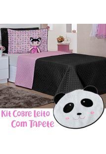 Kit Cobre Leito C/ Tapete Doll Panda Preto/Rosa Dupla Face Solteiro 05 Peças - Tricae