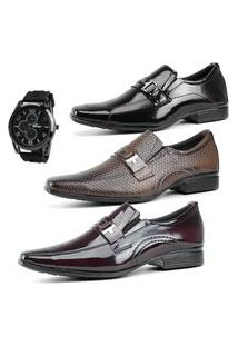 Combo De Três Sapatos Social Masculino La Faire Fivela