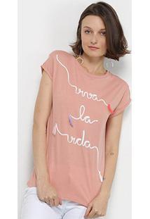 Camisetas Lez Lez Viva La Vida Bordada Feminina - Feminino-Rosa Escuro+Branco