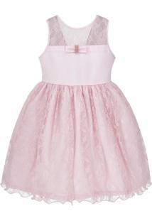 Vestido Infantil De Festa Libelinha Com Renda – Rosa.
