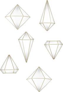 Conjunto Com 6 Enfeites De Parede Prisma Dourado