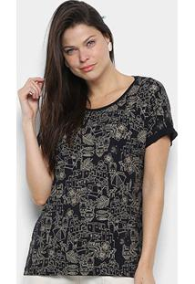 Camiseta Cantão Local Greek Full Feminina - Feminino-Preto