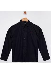 Camisa Manga Longa Juvenil Para Menino - Preto