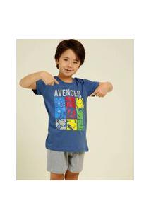 Pijama Infantil Manga Curta Vingadores Marvel Tam 4 A 10