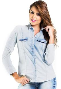 Camisa Jeans Manga Longa Colcci