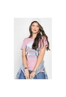 Camiseta Forever 21 Road Trip Rosa