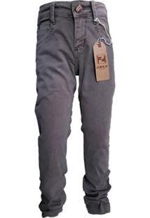Calça Jeans Tradicional Menino Lisa Conforto Dia A Dia - Masculino-Cinza