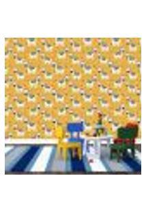 Papel De Parede Adesivo - Zebras - Infantil - Mostarda - 183Ppi