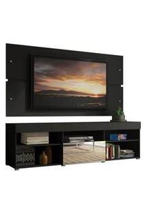 Rack Com Painel Para Tv Até 65 Polegadas Madesa Dublin 1 Porta Com Espelho Preto Preto