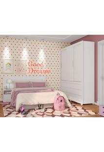 Quarto De Solteiro Completo Com Guarda Roupa E Cabeceira Com Criado Mudo Dreams Siena Móveis Branco/Rosa