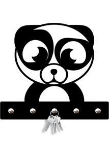 Porta Chaves Panda Love Decor Preto - Kanui