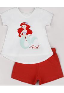 Conjunto Infantil Pequena Sereia Ariel De Blusa Manga Curta Off White + Short Em Moletom Vermelho