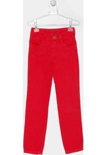 Calça Fakini Sarja Color Infantil - Feminino-Vermelho