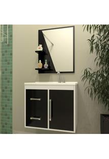 Conjunto Para Banheiro Madri Branco/Preto- Bechara Móveis