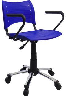 Cadeira De Escritório Secretária Giratória Evidence I Cromada E Azul