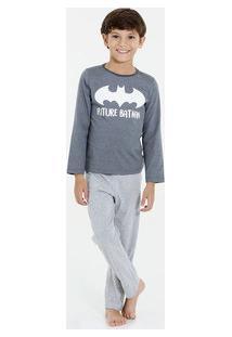 Pijama Infantil Batman Manga Longa Liga Da Justiça