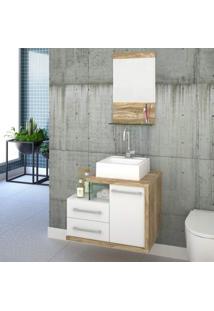 Gabinete Para Banheiro 1 Porta 2 Gavetas 1 Cuba Q35 E Espelheira Legno 651W Siena Móveis Branco C/Carvalho