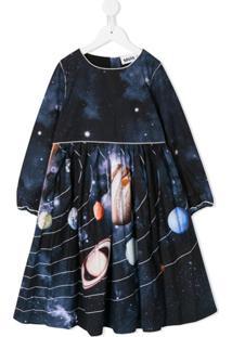Molo Kids Vestido Com Estampa De Planeta - Azul