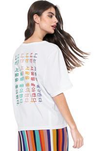 Camiseta Oh, Boy! Ampla Estampada Branca
