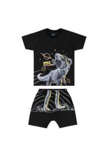 Conjunto Pijama Infantil Dinossauro Brilha No Escuro Elian Preto