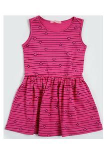Vestido Infantil Estampa Coração Listrado Marisa