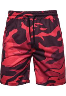 Bermuda Masculina Camuflagem - Vermelho Xg
