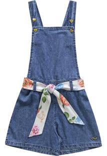Jardineira Jeans Com Faixa Azul
